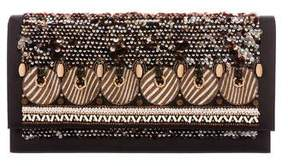 Oscar de la Renta Large Canvas Embellished Clutch