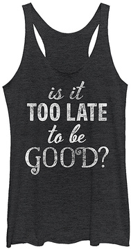 Fifth Sun Black Heather 'Is It Too Late To Be Good?' Racerback Tank
