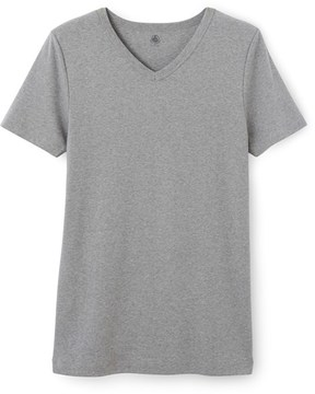 Petit Bateau Mens V-neck T-shirt in plain cotton