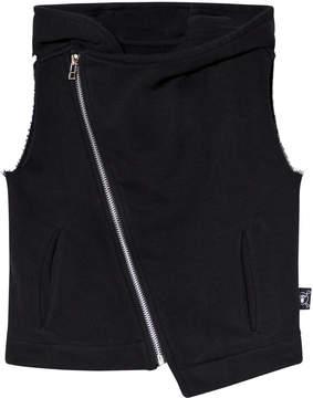 Nununu Black Hooded Diagonal Vest