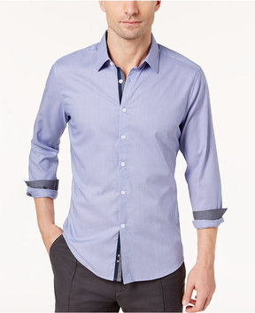 Ryan Seacrest Distinction Men's Blue Micro-Pattern Button Placket Woven Shirt, Created for Macy's