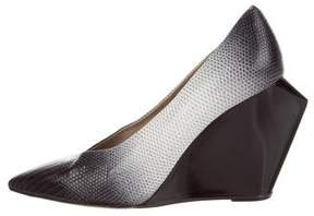 Calvin Klein Collection Lizard Pointed-Toe Wedges
