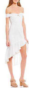 WAYF Genoa Off the Shoulder Asymmetric Ruffle Hem Dress