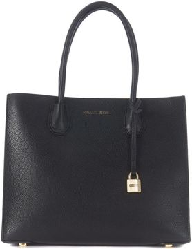 Michael Kors Mercer Black Leather Tote Bag - NERO - STYLE