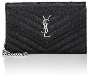 Saint Laurent Women's Monogram Chain Wallet - BLACK - STYLE