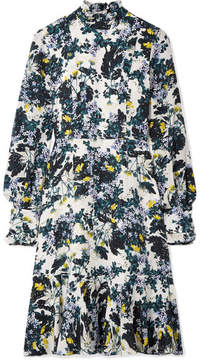 Erdem Bernette Button-detailed Floral-print Silk Crepe De Chine Dress - Blue