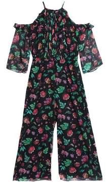 Rachel Zoe Cold-Shoulder Floral-Print Ruffled Silk-Georgette Jumpsuit
