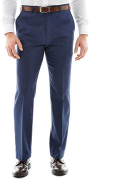 Blend of America STAFFORD Stafford Travel Wool Stretch Mid Blue Flat Front Pants-Slim Fit