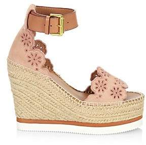 See by Chloé See by Chloé Women's Laser-Cut Suede Wedge Espadrilles