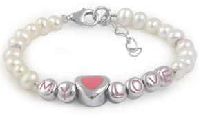 Ice Sterling Silver Pearl Heart My Love Beads Bracelet For Girls