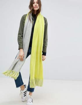 Asos Long Tassel Scarf in Supersoft Knit In Color Block