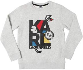 Karl Lagerfeld Rubberized Logo Cotton Sweatshirt