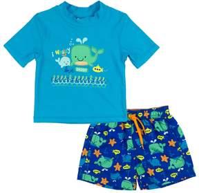 Trunks Baby Boy Kiko & Max Whales I Whaley Love Daddy Rashguard & Swim Set