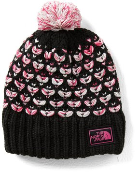 The North Face Girls Patterned Chunky Pom Beanie Hat