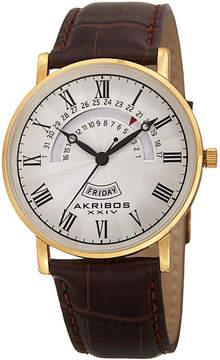 Akribos XXIV Mens Brown Strap Watch-A-898yg