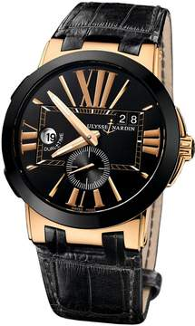 Ulysse Nardin Executive Dual Time Black Dial 18K Rose Gold Automatic Men's Watch 246-00-5-42