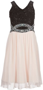 Xtraordinary Big Girls 7-16 Rhinestone Infinity Waist Fit-And-Flare Dress