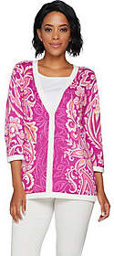 Bob Mackie Bob Mackie's Floral Printed Button Front 3/4Sleeve Cardigan