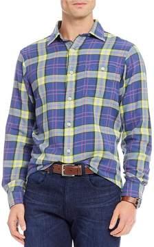 Daniel Cremieux Sologne Plaid Vintage Twill Long-Sleeve Woven Shirt