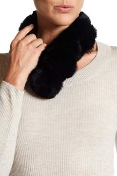 Surell Genuine Rex Rabbit Fur Pompom Collar