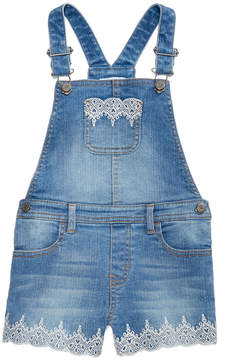 Epic Threads Little Girls Embroidered Denim Shortalls, Created for Macy's