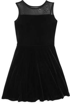 Aqua Girls' Illusion Yoke Velvet Skater Dress , Big Kid - 100% Exclusive