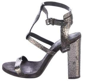 Brunello Cucinelli Metallic Peep-Toe Sandals