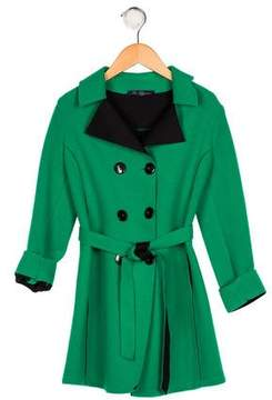Miss Blumarine Girls' Double-Breasted Belted Coat
