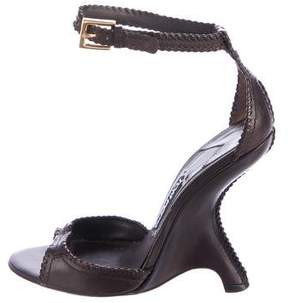 Tom Ford Leather Wedge Sandals