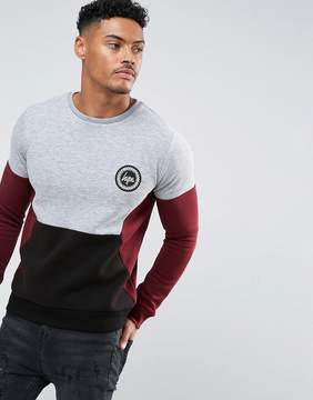 Hype Sweatshirt In Gray With Contrast Panels