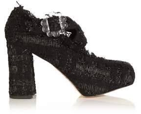 Simone Rocha Tweed cross-strap block-heels