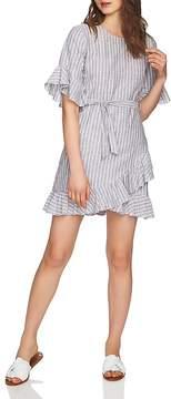 1 STATE 1.STATE Striped Ruffle-Trim Dress