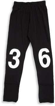 Nununu Little Girl's Number Cotton Leggings - Black, Size 4-5
