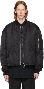 Raf Simons Black Any Way Out of This Nightmare Short Bomber Jacket