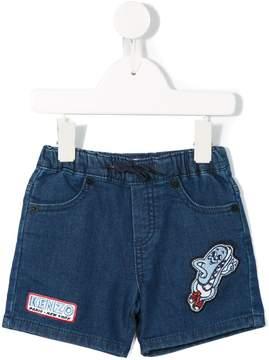 Kenzo patch embellished denim shorts