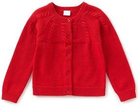 Edgehill Collection Little Girls 2T-6X Velvet Bow Cardigan Sweater