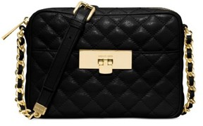 Michael Kors Womens Susannah Leather Quilted Messenger Handbag - BLACK - STYLE