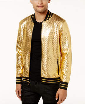 INC International Concepts Men's Gold Chevron Bomber Jacket, Created for Macy's