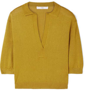Tibi Metallic Stretch-knit Top - Mustard