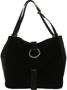 Michael Kors Women's Large Quincy Suede Shoulder Leather Messenger Bag Tote - Black - BLACK - STYLE