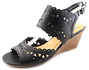 XOXO Sunday Women Open Toe Synthetic Black Wedge Sandal.
