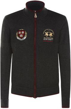 La Martina Harvard Coat of Arms Zip Up Sweater
