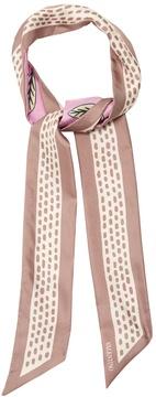 VALENTINO Cherry-blossom print skinny silk scarf