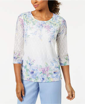 Alfred Dunner Petite Daydreamer Floral-Print Textured Top