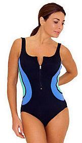 Fit 4 U Tummy Color Block 1-Piece Swimsuit