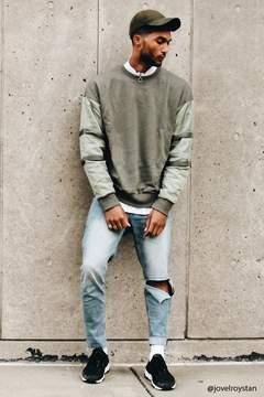 21men 21 MEN Utility-Sleeve Sweatshirt