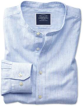 Charles Tyrwhitt Slim Fit Collarless Blue and White Stripe Cotton Casual Shirt Single Cuff Size Large