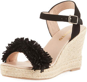 Sesto Meucci Olexa Suede Fringe Wedge Sandals, Black