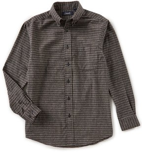 Roundtree & Yorke Casuals Big & Tall Long-Sleeve Checked Flannel Sportshirt