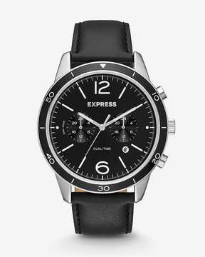 Express Black Leather Strap Dual-Time Whittier Watch